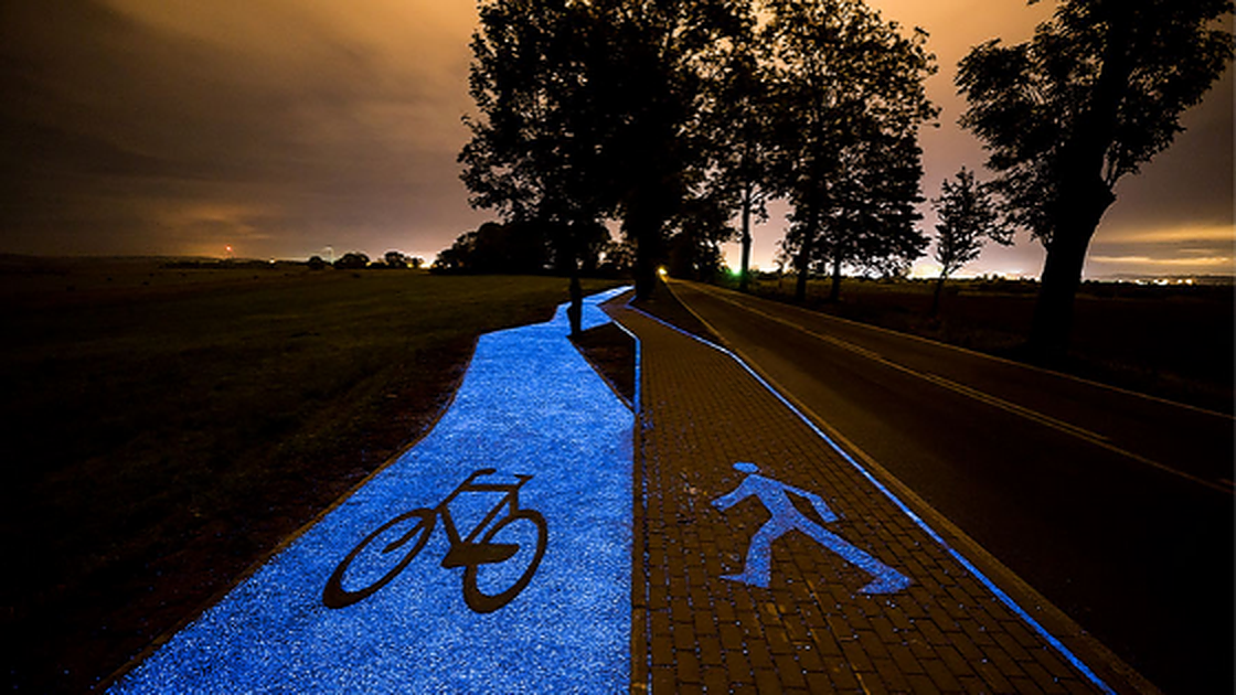 Poland's Glow-In-The-Dark Bicycle Path.
